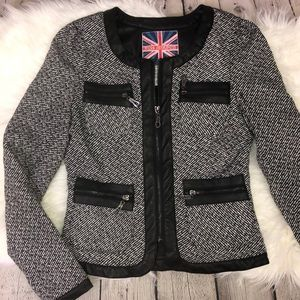 Miss London tweed zip up blazer